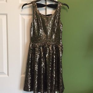 NWT Gold sequin party dress.